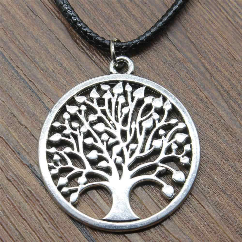 Vintage 2019 Leather Chain Necklace Pendant 38x34mm New Round Tree Of Life Antique Silver Color Necklace Vintage Accessories