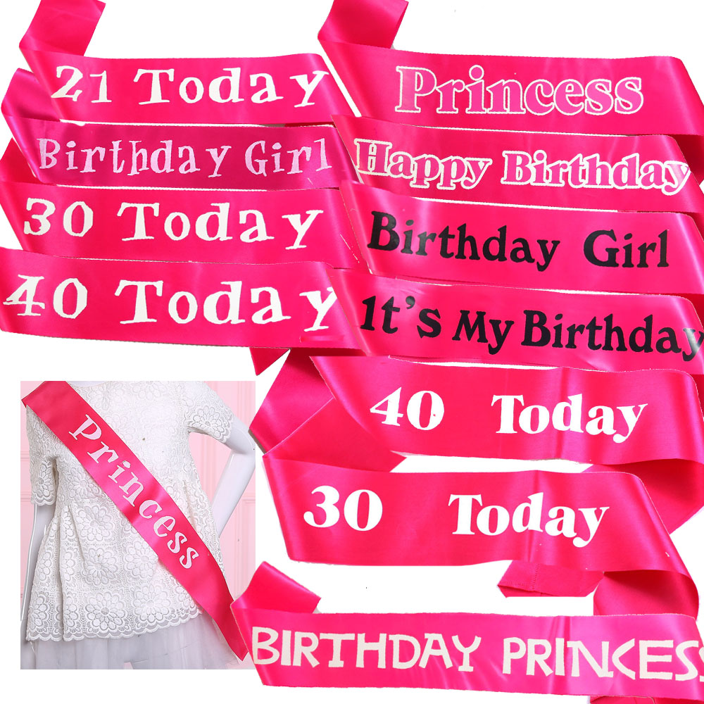 Sexy birthday party ribbon white black printing happy birthday sash adult celebrate 21 30 40 <font><b>50</b></font> years old event party supplies image