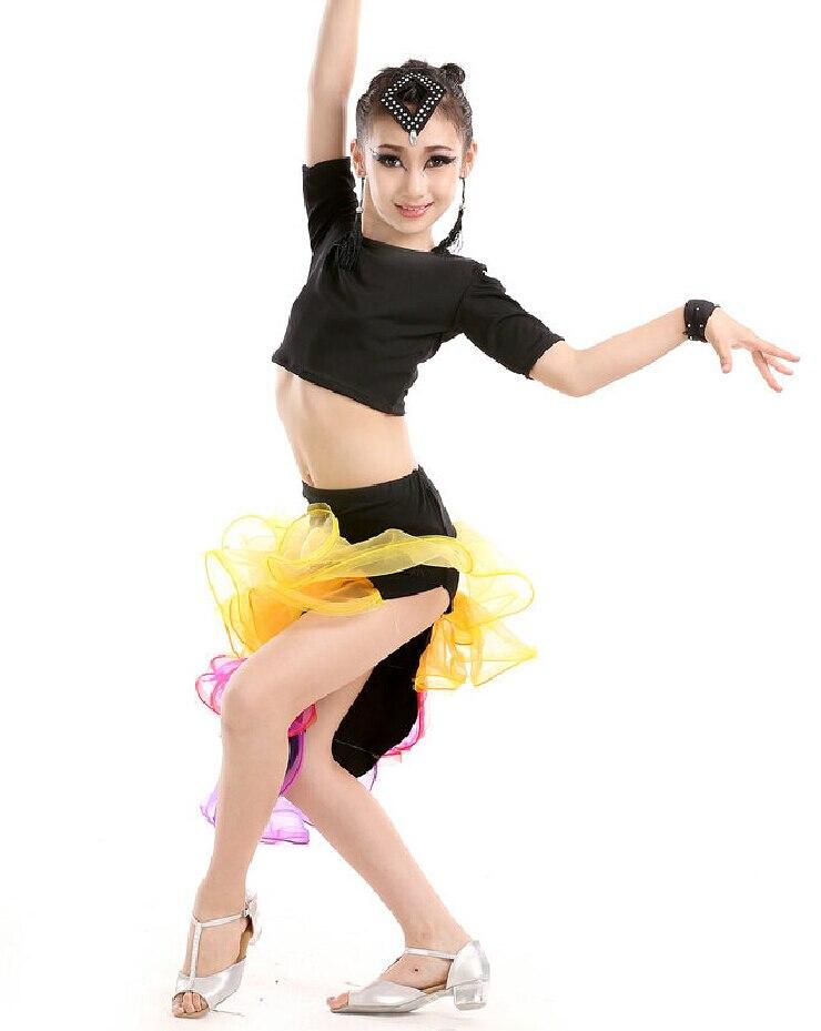 2016 New Latin Dress For 95-160cm Girls Designer Ballroom Dress Latina Kids Children Stage Show Salsa Costumes Tango Dance Wear