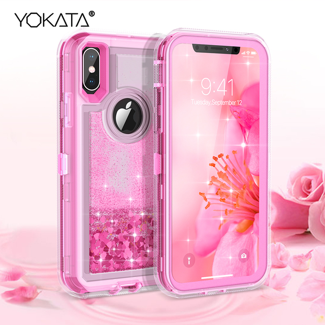 Quicksand Case For iphone X Xs Max 7 8 6 6s Plus Case For iPhone XR Cases Cover 360 TPU Glitter Bling Liquid Hard Full Protect