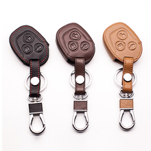 Купить с кэшбэком High quality 100% leather key chain ring cover case holder for ford Mondeo Fiesta Focus C-Max remote holder,3 Buttons key
