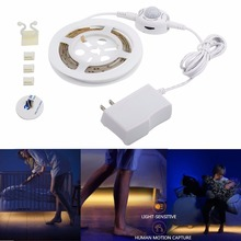 Motion Activated Bed Light,Flexible LED Strip Light Kit Motion Sensor Night Light Warm white Cabinet stair Light ,dimmable timer dvolador usb motion sensor led strip kit rechargeable activated bed light stick anywhere auto shut off timer for under cabinet
