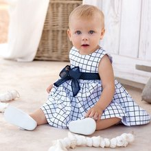 Han Edition Round Neck Sleeveless Plaid Pattern Bowknot Baby Girls Dress