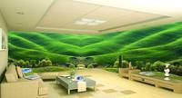 Custom 3D Wallpapers Green fresh grass Wallpaper Stereoscopic 3D Mural 3D Wall Murals Space Wall Background