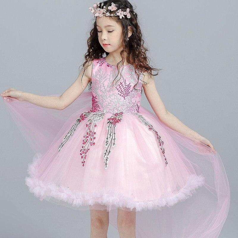 Broderie traînée enfants robe princesse robe fleur filles robes pour les mariages bébé fête mode enfants robe