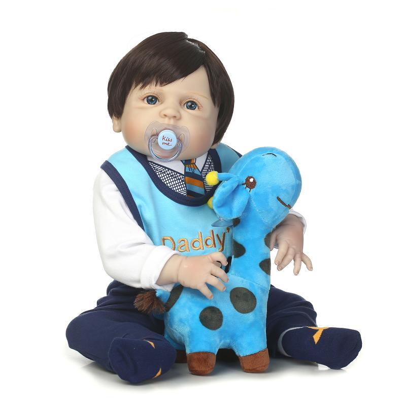 Npk Bebe Reborn Dolls 22 56cm Full Body Silicone Rebron Baby Alive Boy Black Hair Blue Eyes Doll Newborn Bonecas Kids Gift