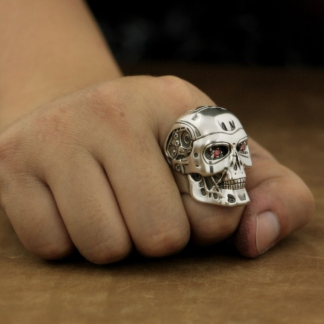 Handmade 925 Sterling Silver Red CZ Eyes Terminator Mens Biker Robot Ring TA80A