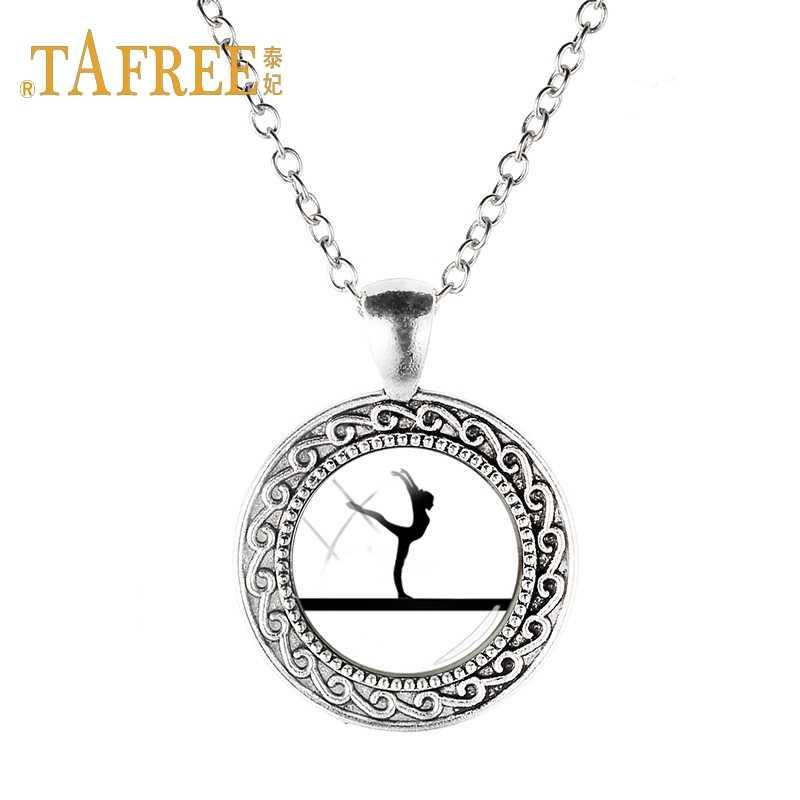 TAFREE moda obraz kobiety wisiorek naszyjnik siły i równowagi gry miłość gimnastyka naszyjnik łańcuch biżuteria ns558 5