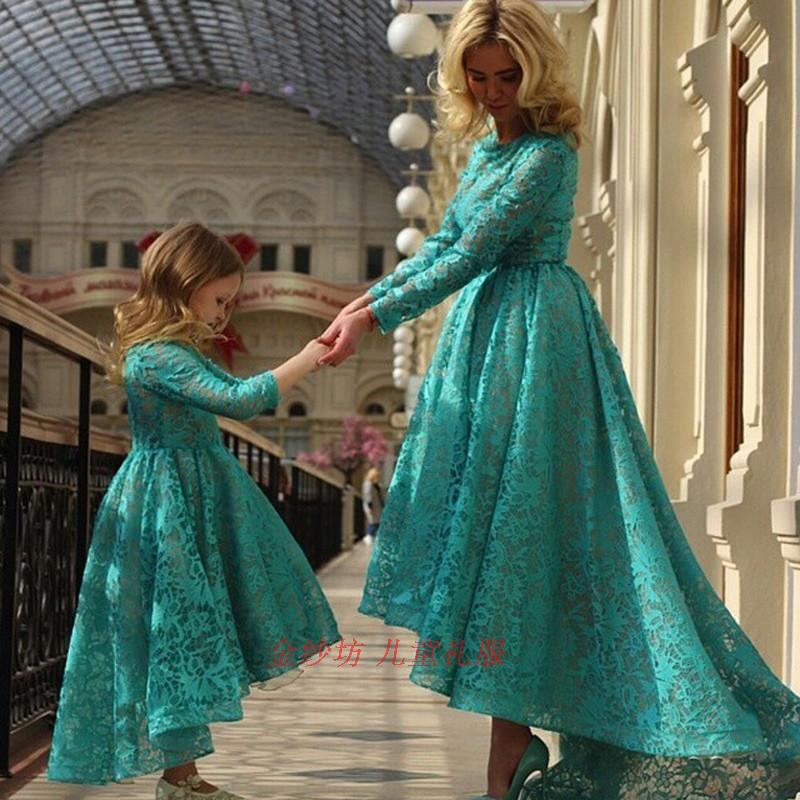 Mamá e hija vestido de novia familia juego vestido de novia para madre hija Vestido de manga larga ropa mamá Bebé Ropa - 3