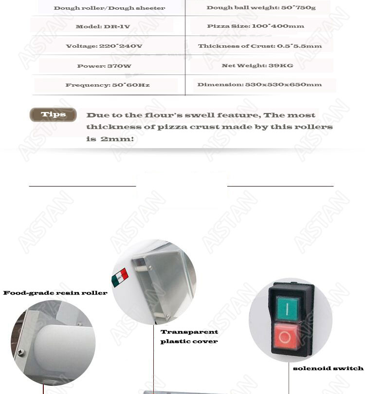 DR1V/DR1V-FP electric counter top stainless steel pizza dough roller machine pizza making machine dough sheeter 4