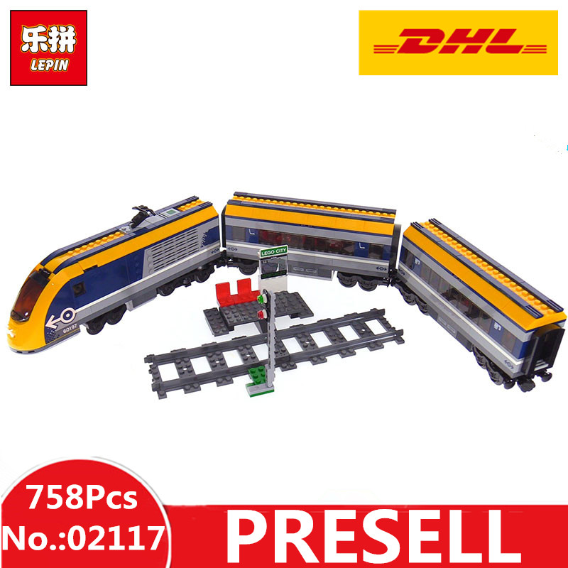 все цены на DHL H&HXY 02117 758Pcs City Figures Passenger Train Sets LEPIN Model Building Blocks Bricks Toys For Children Compatible 60197 онлайн