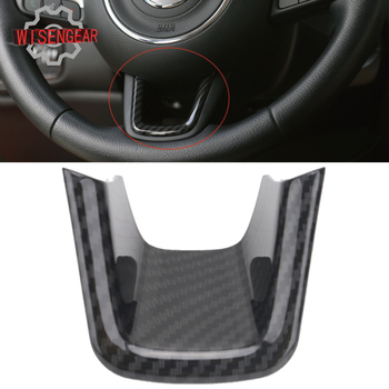 WISENGEAR Carbon Black Steering Wheel Bottom Cover Trim for Jeep Renegade 2015 2016 2017 Car Interior Decoration #CEK119 image