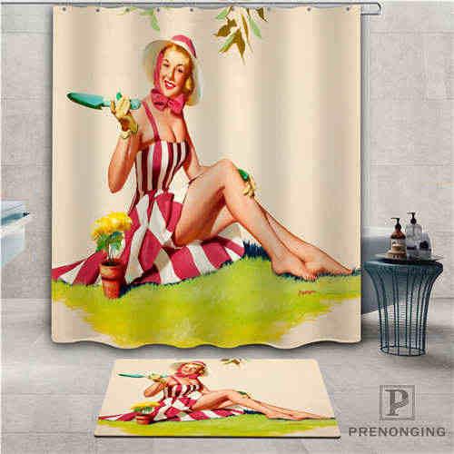Custom pin up girl (1) ผ้าม่านกันน้ำพรมเช็ดเท้าอาบน้ำผ้าโพลีเอสเตอร์หลายขนาด #2019-01-12-271