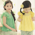 Wholesale Summer Sleeveless  Solid Cotton Lace Girls Princess Shirt / Blouse  For Kids Children Lace Tops Green Yellow