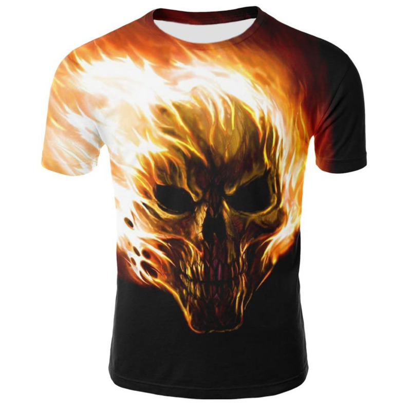 Fashion Men's Casual Skull 3D man t-shirt printed men male Couple Round Neck Short Sleeve Tops mens tee shirts