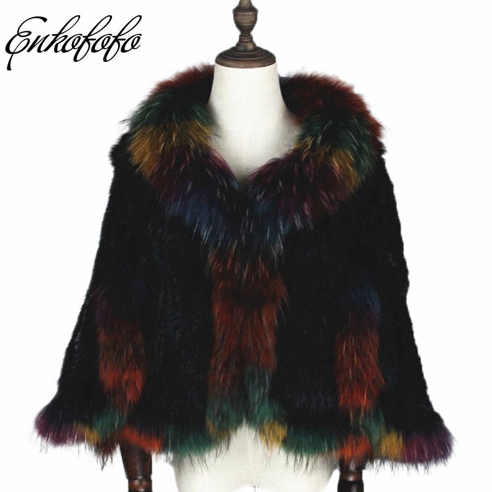 2018 Neue Winter Frauen Luxus Gestrickt Aus Echtem Kaninchen Fell Mantel Waschbären Pelz Poncho Cape Lose Echt Pelz Knitting Wraps Schal Mantel