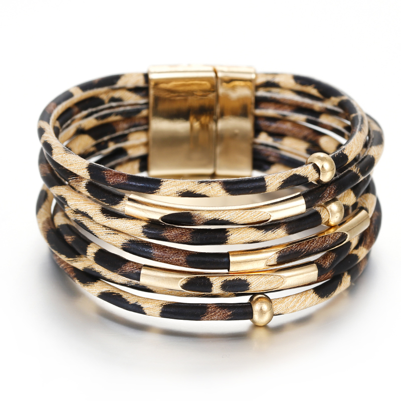 HTB1pyadMVzqK1RjSZFoq6zfcXXas - Amorcome Leopard Leather Bracelets for Women Fashion Bracelets & Bangles Elegant Multilayer Wide Wrap Bracelet Jewelry