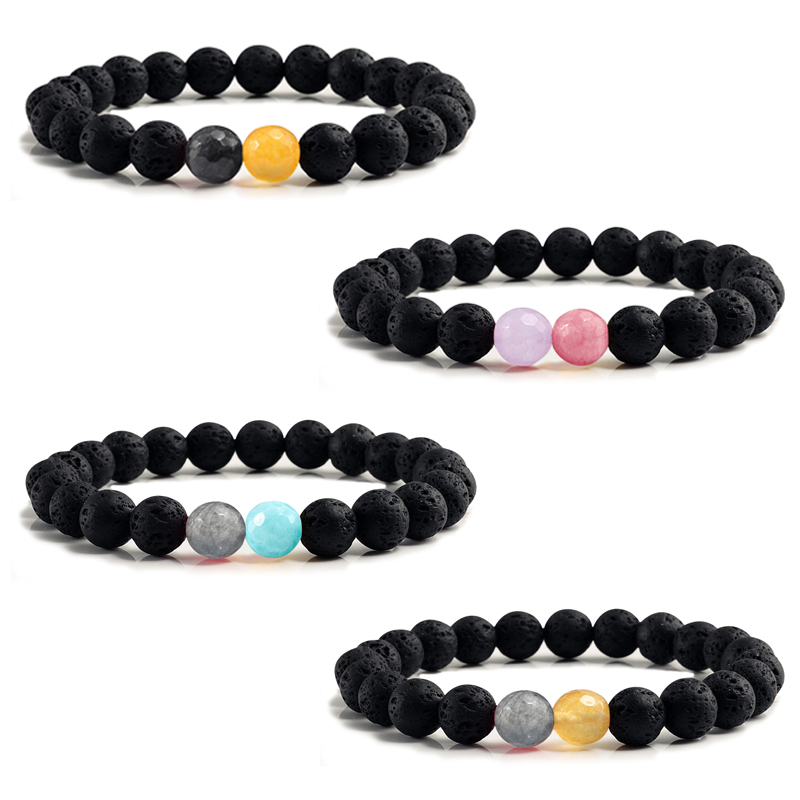 Classic 8MM Natural Volcanic Stone Couple Distance Bracelets Black Lava Beads Charms Yoga Bangle Bracelet Men Femme Jewelry Gift