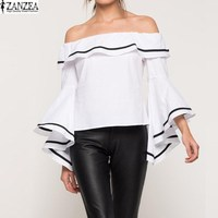 S 5XL ZANZEA Womens Slash Neck Butterfly Sleeve Chiffon Club Tops Ruffle Flouncing Off The Shoulder