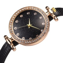 цена Luxury Women Fashion Starry Sky Quartz Watch Lady Leather Watchband High Quality Casual Waterproof Wristwatch Gift for Wife 2019 онлайн в 2017 году