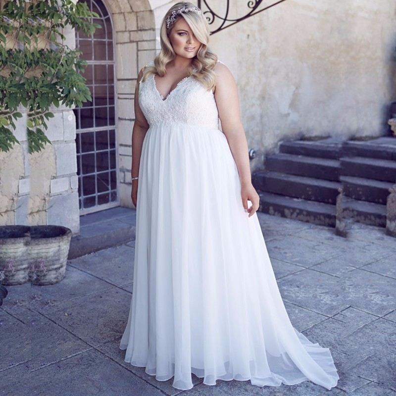 ADLN New Arrival Plus Size Vestido De Noiva Wedding Dresses Sexy V-neck Appliques Chiffon Floor-length Bridal Dress 5