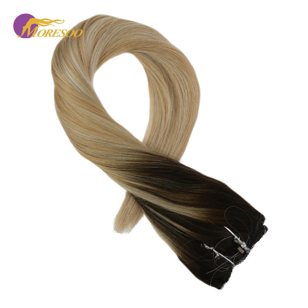 Moresoo Flip In Human Hair Extensions Machine Remy Balayage Ombre Color #2/27/613 Fish Line Halo Invisible Hidden Wire 50-100G
