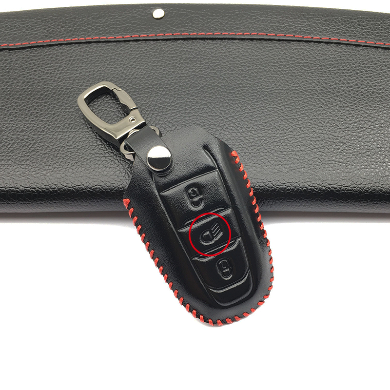 100 Top Layer Leather Case Car Key Cover Case Fob Shell holder for Peugeot 308 408