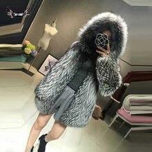 Женская зимняя теплая куртка из натурального меха серебряной лисы