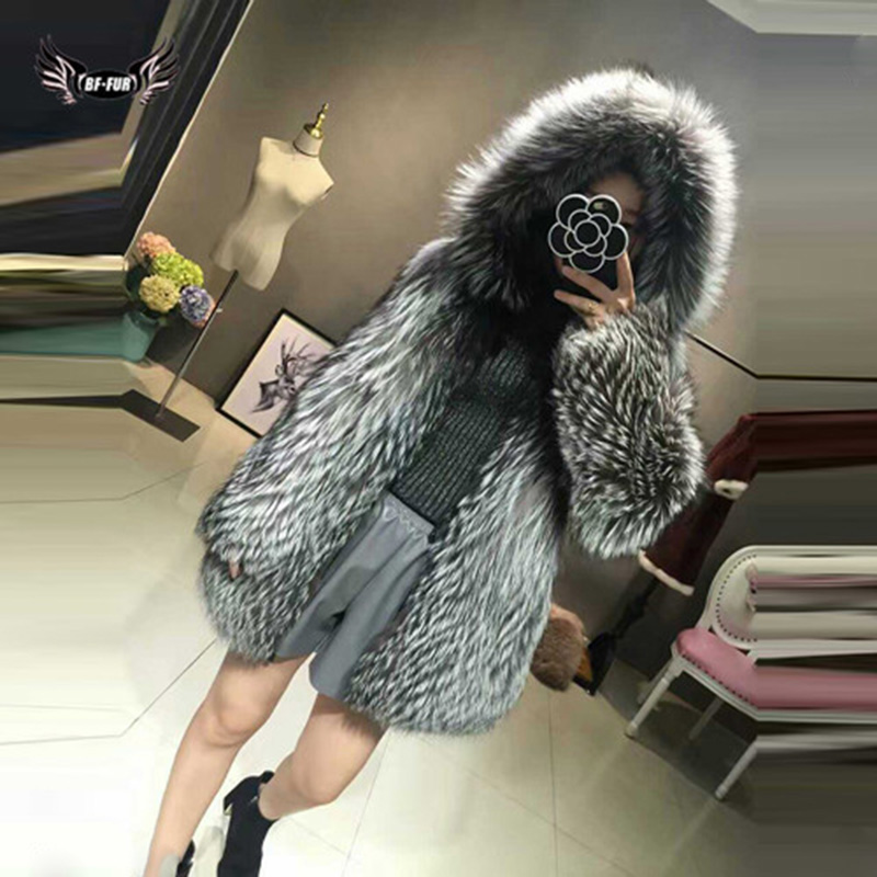 Real Fox Fur Coat Women's Winter Top Grade Natrual Fur Silver Fox Thick Warm Fashion Styles Female Silm Genuine Fur Jacket Warm