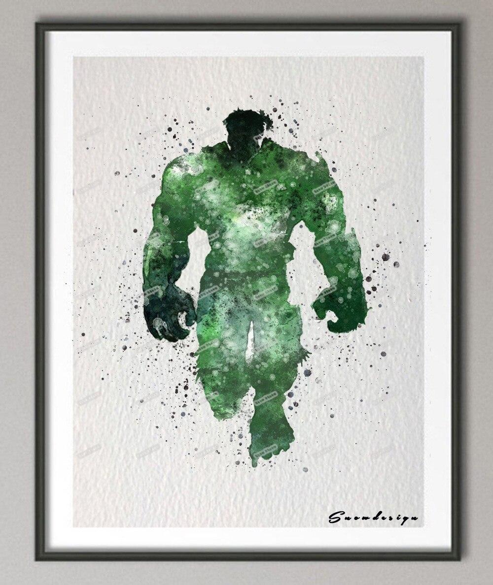 DIY Original watercolor superhero HULK canvas painting wall art ...
