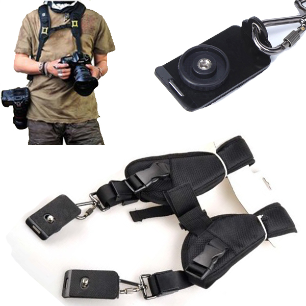 Anti-slip DSLR Camera Fast Rapid Double Shoulder Neck Strap Belt Adjustable with 1/4 Quick Release Plate for Canon Nikon Sony
