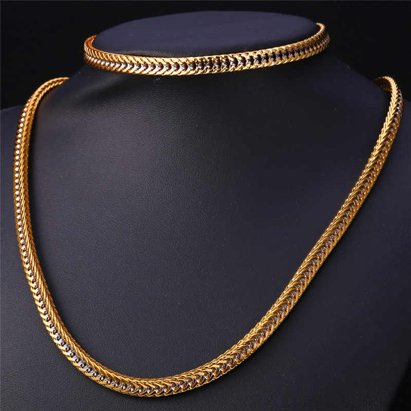 Kpop Two Tone Jewelry Necklace Cuban Chain Set For Rock Men/Women Wholesale yellow Gold Color Vintage Set Gift NH144