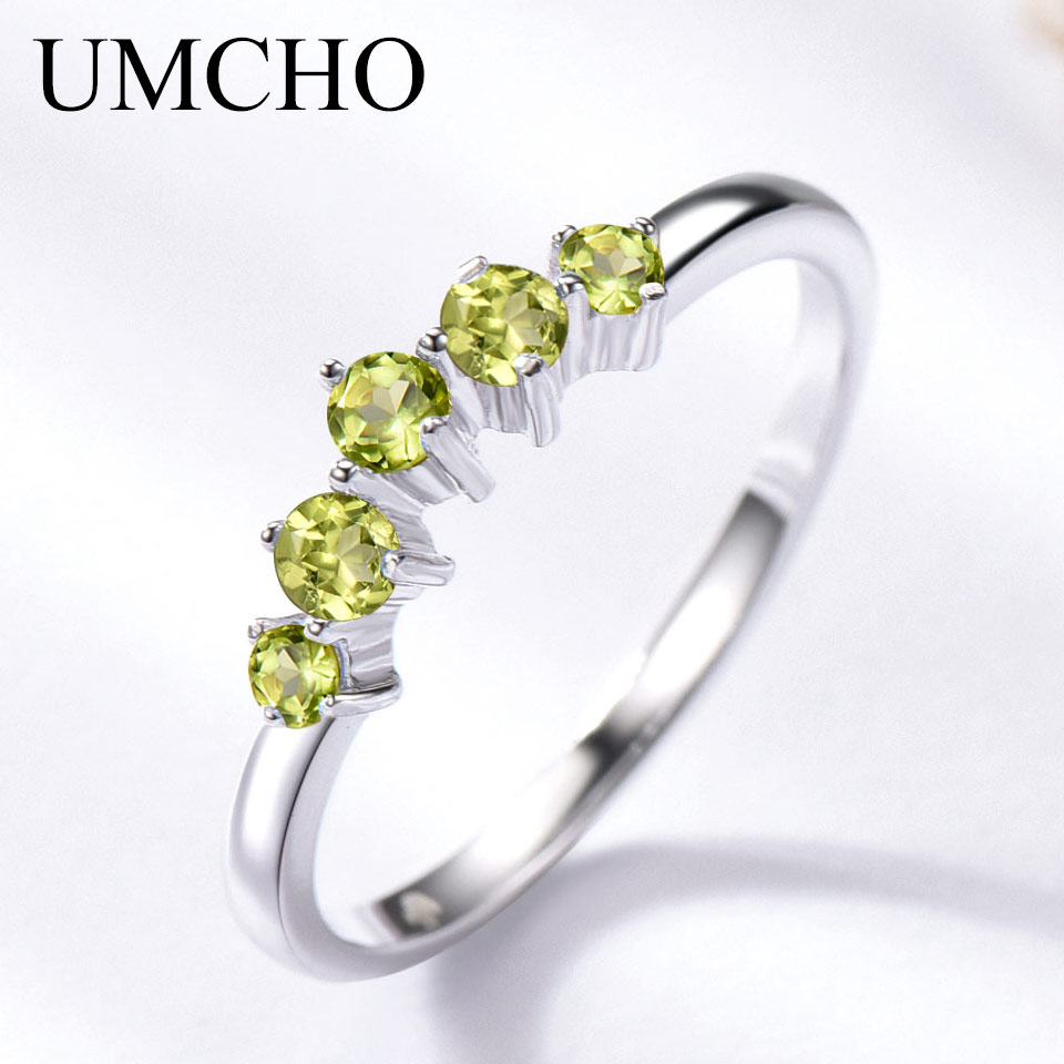 UMCHO Genuine Natural Peridot Ring Solid 925 Sterling Silver Rings For Women Engagement Wedding Band Gift Fine Jewelry Fashion