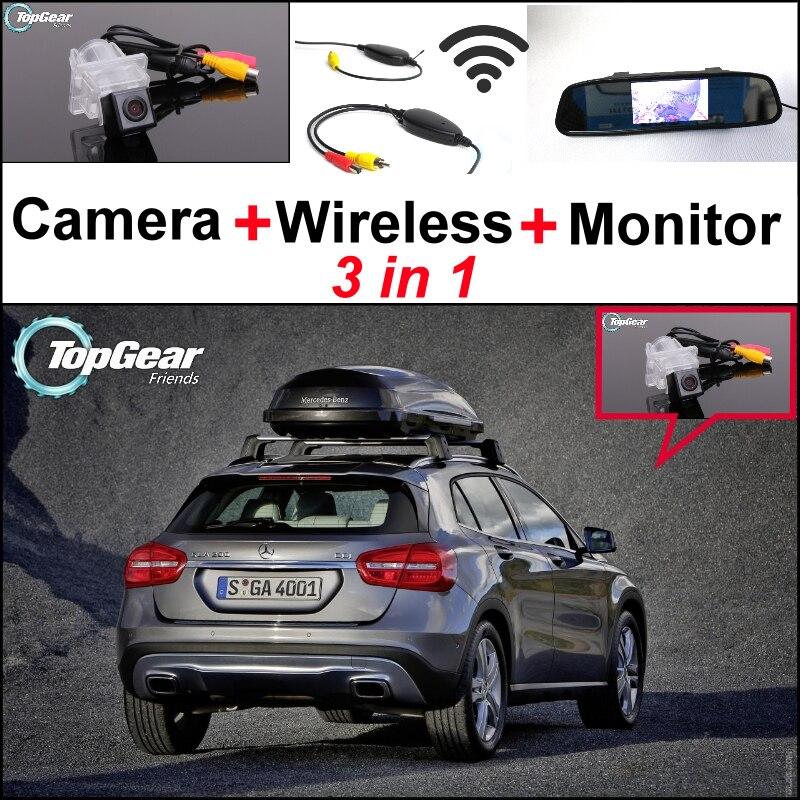 3в1 специальный WiFi камера + беспроводной приемник + зеркало экрана Резервное копирование заднего вида парковочная система для Мерседес Бенц ГЛК / АМГ