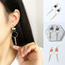 Hot Sale Geometric Leather Circle Round Tassel Earrings Thre