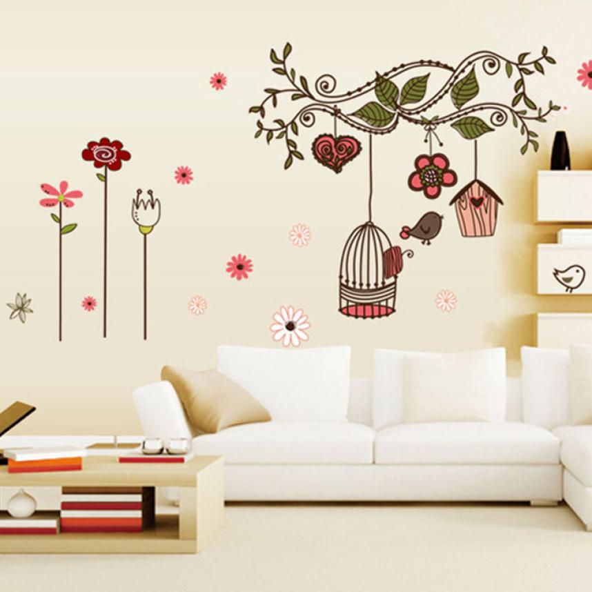 Warm Elegant Flower Wall Stickers Graceful Peach Blossom birds Wall Stickers Furnishings Romantic Living Room Decoration D30A12