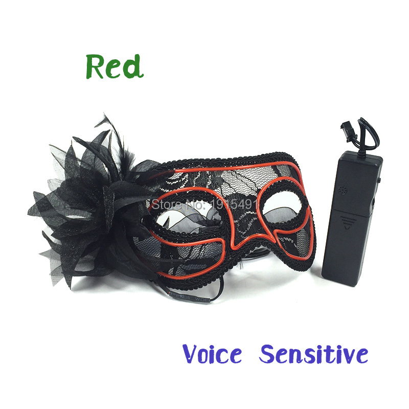 European Favors Holiday Lights Led Neon Venetian Mask Attractive EL Cold Light Dentelle Mask for Party Dance Performance Show