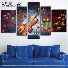 FULLCANG Guitar Music Diy 5pcs Diamond Painting Cross Stitch Embroidery 5D Square Mosaic F1061