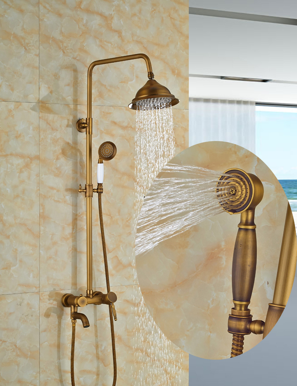 Wholesale And Retail Antique Brass Bell Style Rain Shower Faucet Set Tub Spout Mixer Tap W/ Hand Shower Wall Mounted Shower