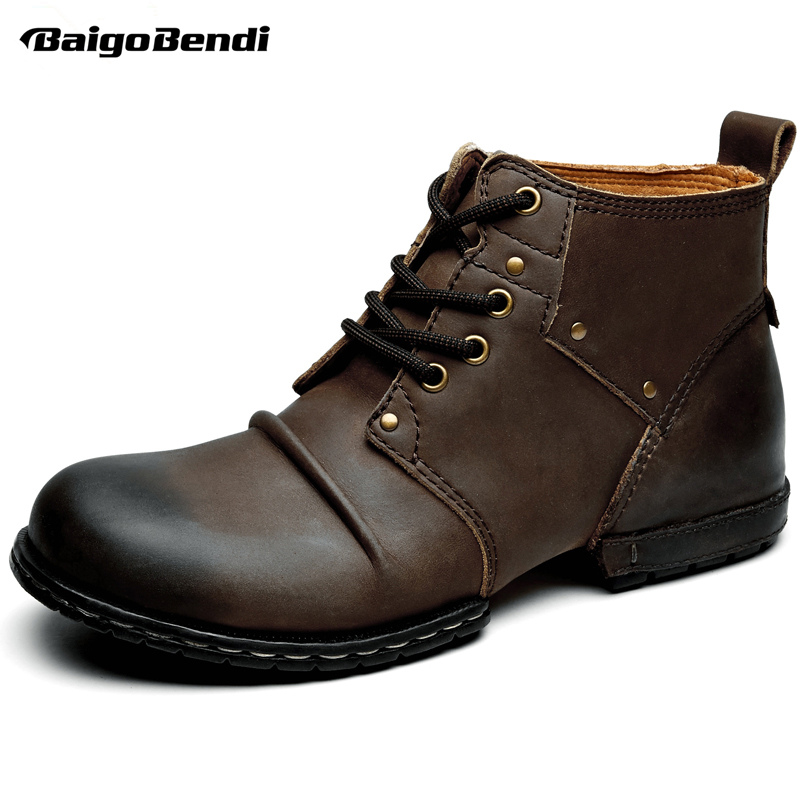 Genuine Leather Men's Western Boots Lace Up Footwear Work Wrinkle Ankle Boots Winter Shoes Round Toe Martin Boots