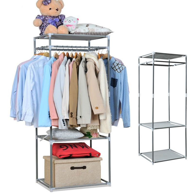 4 Tiers Portable Stainless Steel Clothes Hanger Organizer Clothes Floor Rack