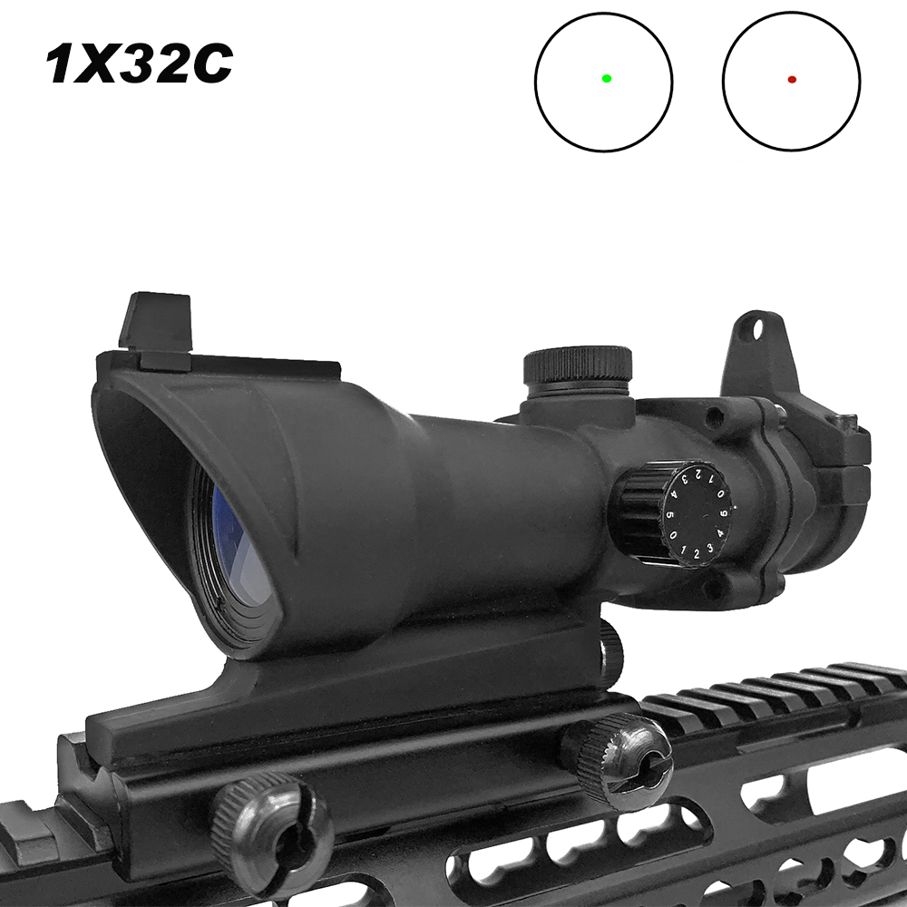 Hunting Scope Tactical ACOG 1X32 Red Dot Sight Scope Optic Reflex Riflescope With 20mm Picatinny Rail For Rifle M4 M16 Airsoft Hunting Scope Tactical ACOG 1X32 Red Dot Sight Scope Optic Reflex Riflescope With 20mm Picatinny Rail For Rifle M4 M16 Airsoft