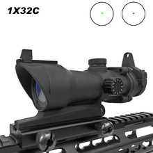 Hunting Scope Tactical ACOG 1X32 Red Dot Sight Scope Optic Reflex Riflescope With 20mm Picatinny Rail For Rifle M4 M16 Airsoft new arrival tactical 4x32 acog style scope with mini red dot for hunting bwr 034