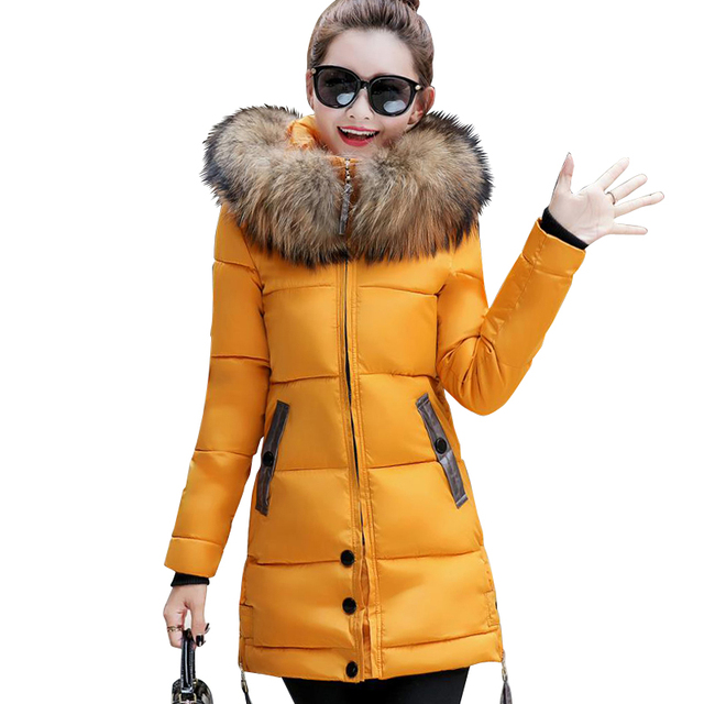 2018 fur collar plus size 3XL women winter hooded coat female outerwear parka ladies warm long jacket slim jaqueta feminina