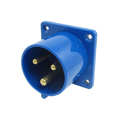 32A 2P+E IEC309-2 Industrial Panel Mount Plug Connector Blue w Washer