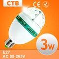 3Вт RGB LED мини-фонарики для вечеринки, Е27 вращающаяся лампа для дискотеки, светодиодные лампочки RGB LED, освещение для сцены, бесплатная доставка