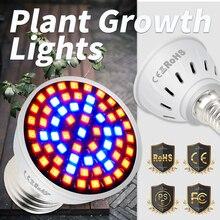 лучшая цена E27 LED Grow Light Plant LED Lamp E14 Full Spectrum GU10 Seed Vegetable Growth Lamp MR16 Indoor Plant Light Bulb 48 60 80led B22