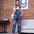 Women Denim Pants 2016 New Spring Autumn Casual Ripped Hole Slim Vintage Loose Solid Jeans Overall Women Clothing C537