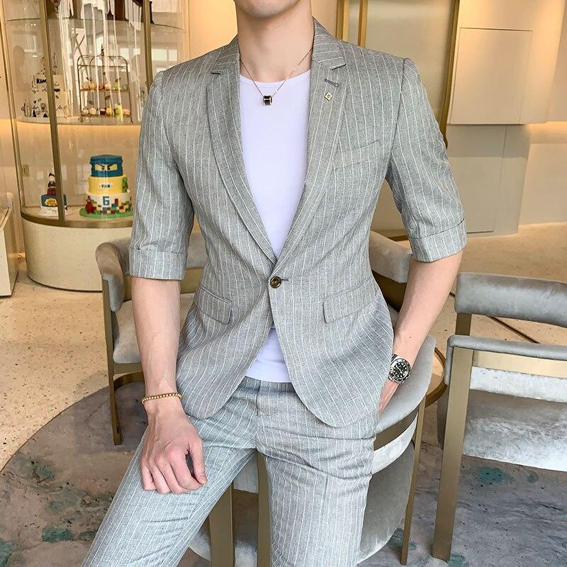 Erkek Kıyafeti'ten T. Elbise'de 2019 yaz yarım kollu düğün takımları erkekler için kaliteli bir düğme erkek takım elbise ince fit (ceket ve pantolon)'da  Grup 3