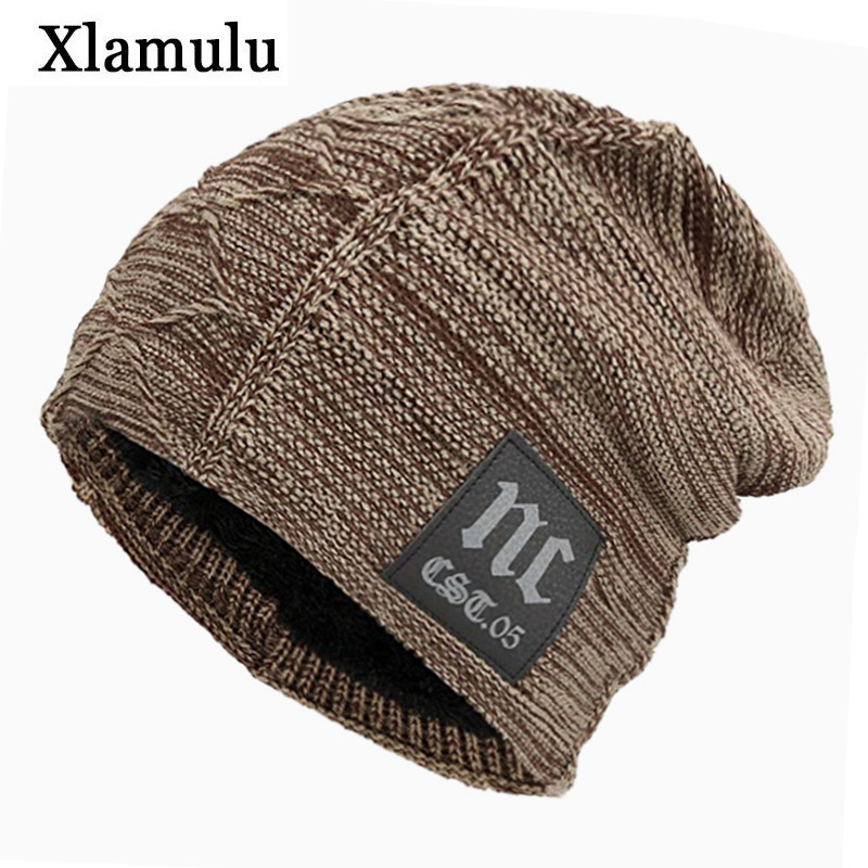 Xlamulu   Skullies     Beanies   Knitted Hat Winter Hats For Men Women Mask   Beanie   Warm Baggy Soft Thick Gorros Bonnet Letter NC Hat Cap